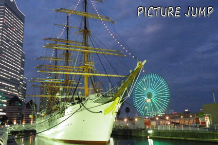 横浜みなとみらい21の夜景 日本丸メモリアルパーク