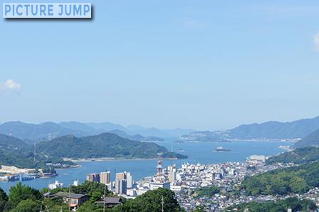 千光寺公園の展望台から西を眺めると尾道水道に浮かぶ数々の島