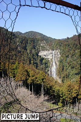 三重の宝塔の金網越しに見る那智の滝