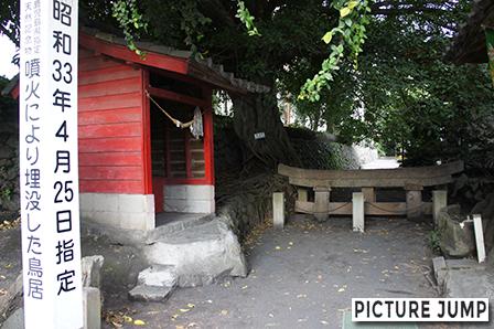 桜島大噴火によって埋没した黒神埋没鳥居