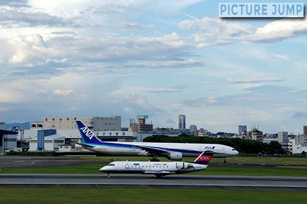 伊丹スカイパーク 離陸ポイントへと滑走路を移動するANAと擦れ違う小型飛行機