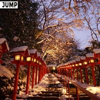 貴船神社 雪の日限定ライトアップが幻想的