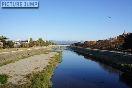 荒神橋から撮影した早朝の鴨川 ほんのり紅葉