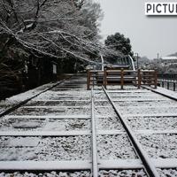 蹴上インクライン 静かな朝の雪景色