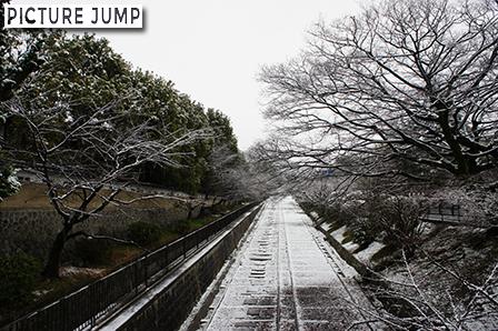 蹴上インクラインの雪景色