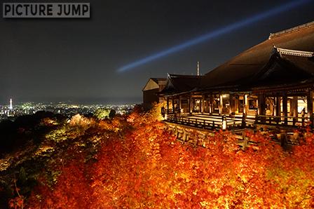 京都・清水寺 紅く染まった紅葉ライトアップと青い光線、白く輝く京都タワー