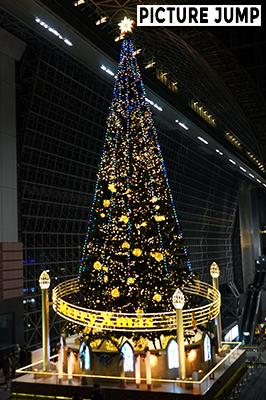 京都駅ビル大階段前にクリスマスシーズンになると出現する22m巨大クリスマスツリー