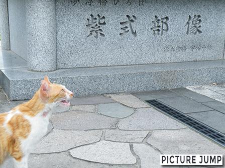 宇治橋の袂にある紫式部像と猫との共演